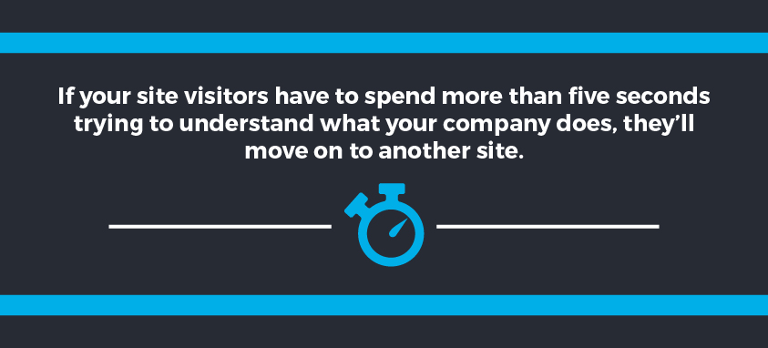 A site needs to understand company in 5 seconds of visitors move on.