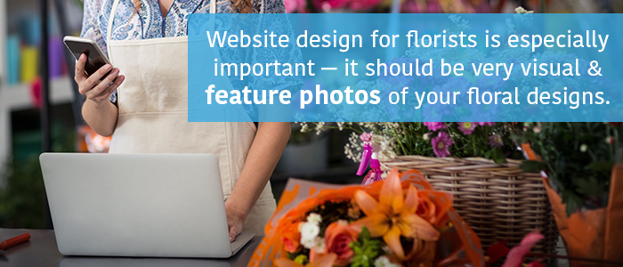Website Design for Florists should include professional photography