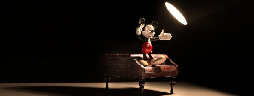Mickey Mouse on a piano