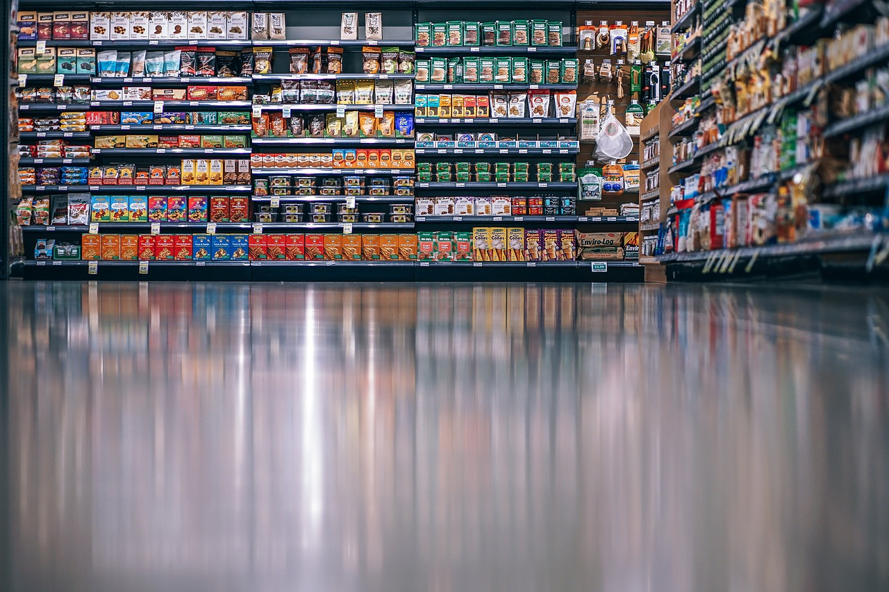 assortment of food products in a grocery store
