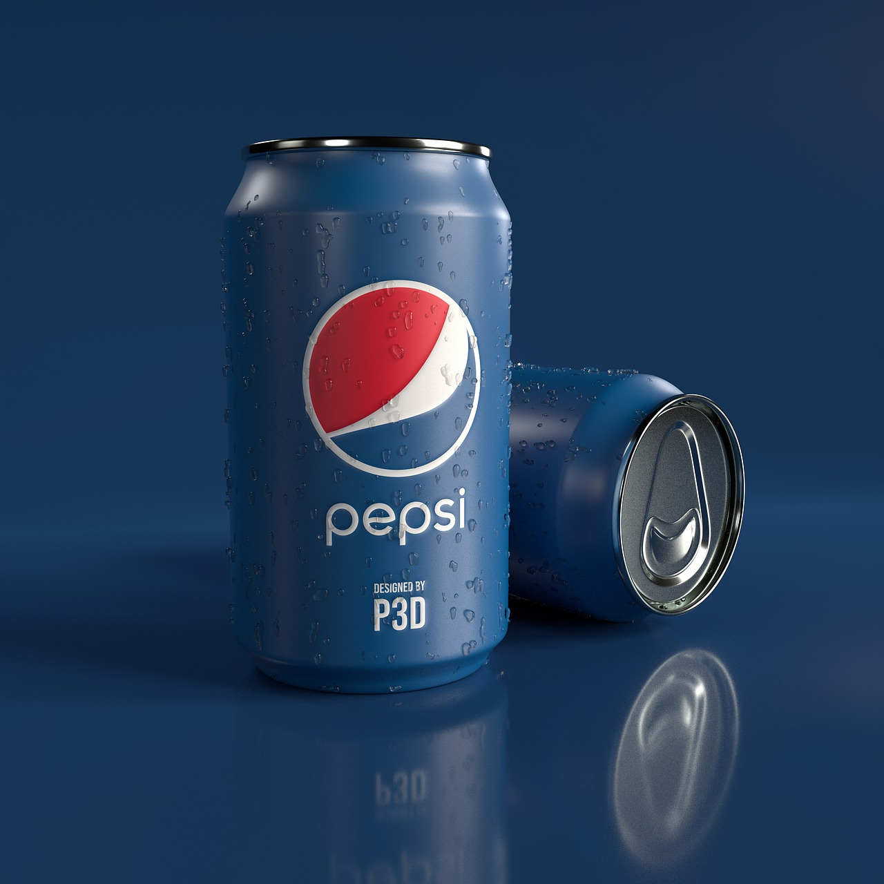 Pepsi cans with their traditional blue and white color scheme