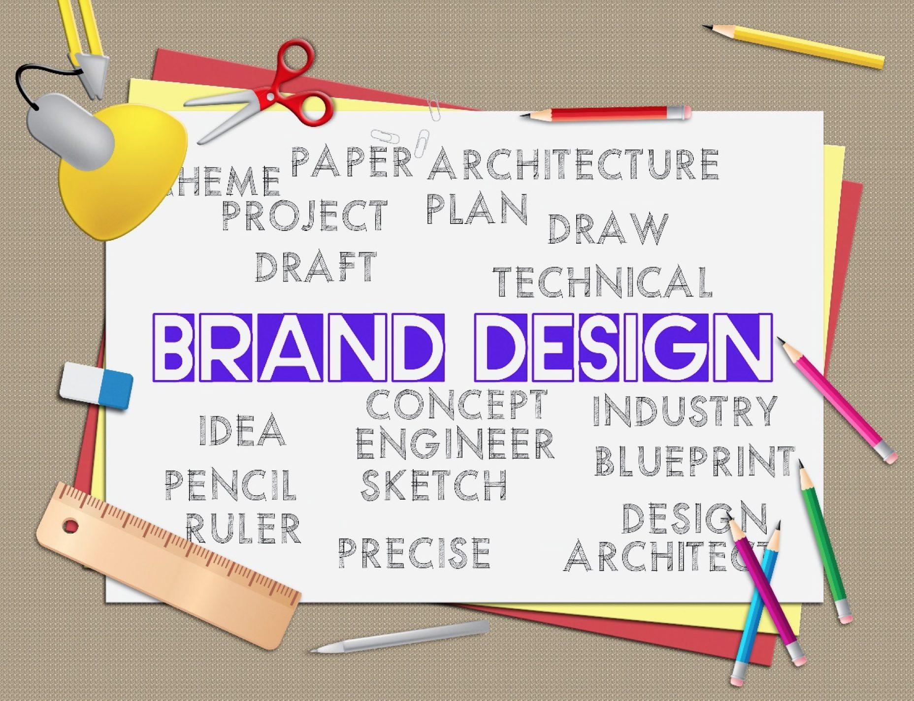 Brand Design indicates artwork idea and branding